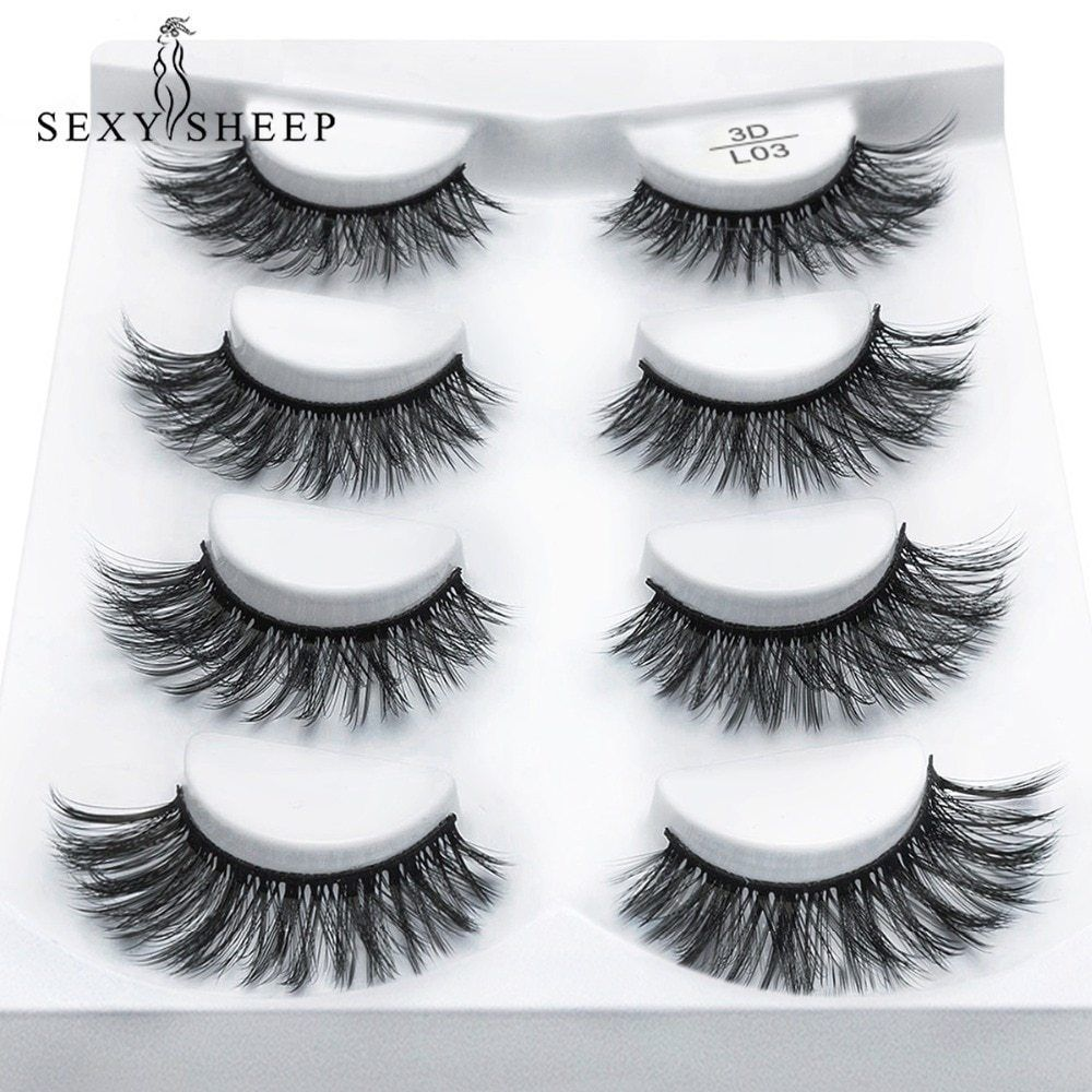 266464c8818 4 Pairs MINK Lashes Eyelashes 3D For Makeup / Pestañas postizas NEW USA  #Unbranded