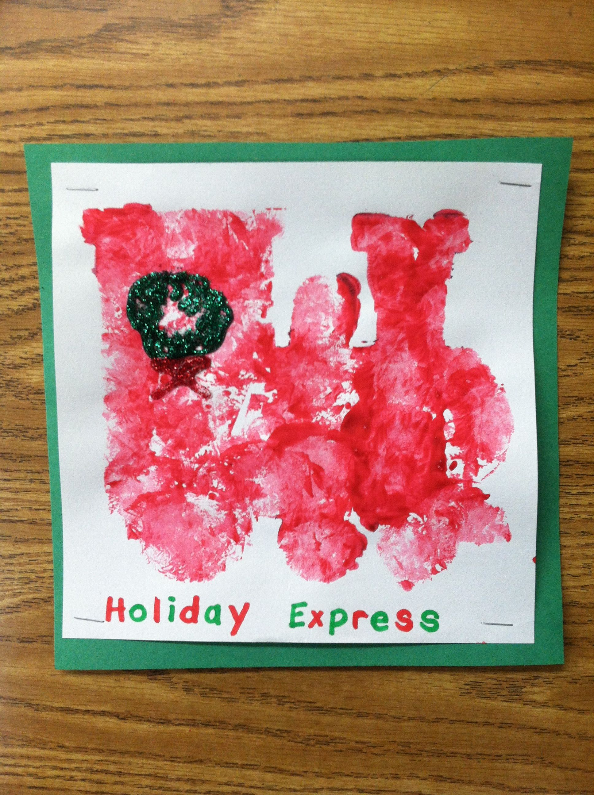 Stencil sponge painting with glitter glue wreath and patterned ...