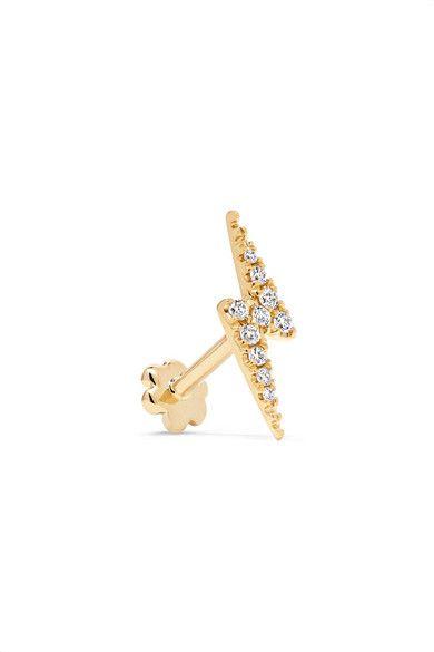 Maria Tash Lightning Bolt 18-karat Gold Diamond Earring kR4Z6b5