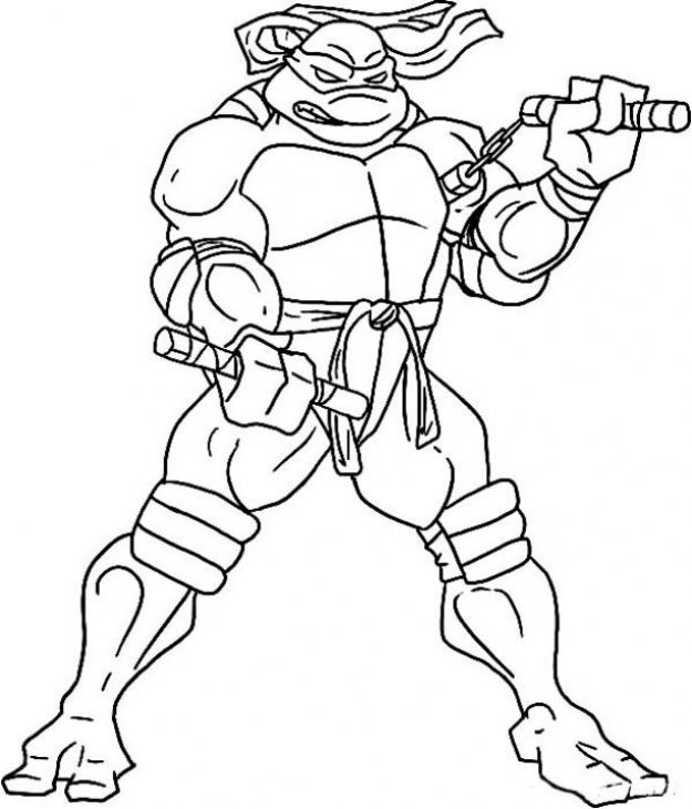 Online Michelangelo ninja turtle coloring page to print out