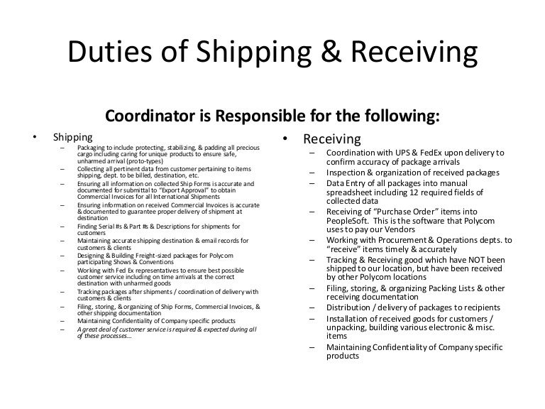 duties of shipping  u0026 receiving coordinator is responsible