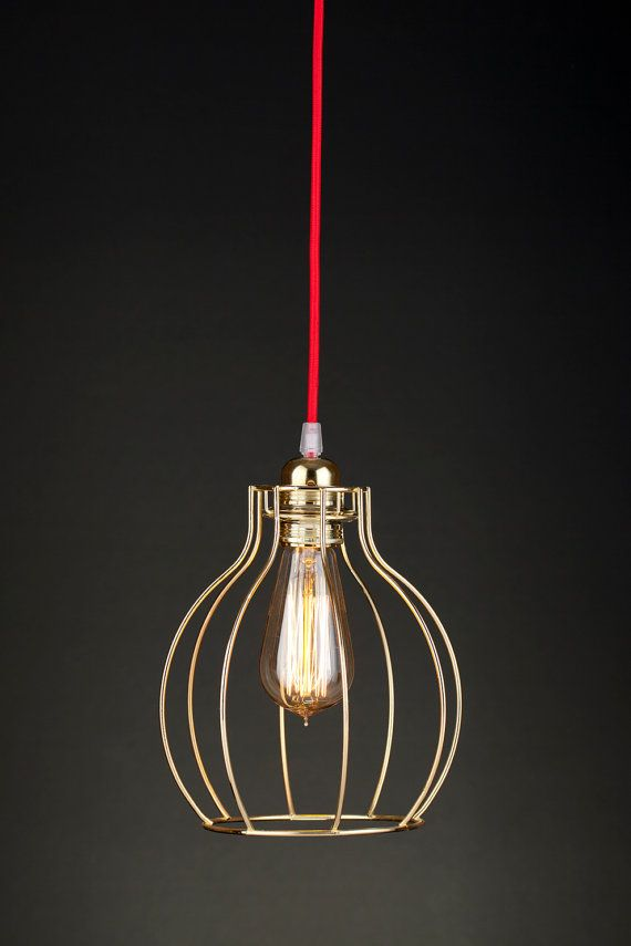 Beautiful modern pendant lamp red cloth cable lovely corresponds red cloth cable lovely corresponds with gold metal wires bulb holder is also gold size of a lamp diameter 19 cm inch height 23 cm 9 inch length of a greentooth Choice Image