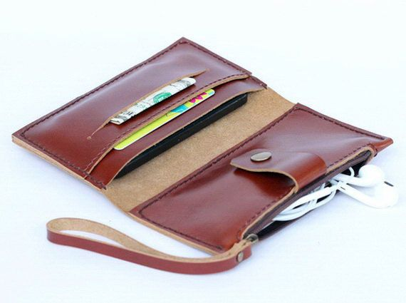Leather iPhone Wallet case with zipper pocket in Tan Brown - 3 slots (For all iPhone models)