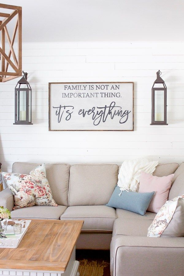 A bright airy farmhouse style spring living room - Family room wall decor ideas ...