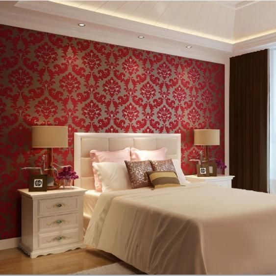 European Damask Velvet Background Non Woven Wallpaper Red Living Room Wall Paper Fl Wallcovering Roll Bedroom