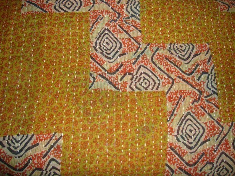 Beautiful Yellow Flower Vintage Kantha  Vintage Kantha Thrown Vintage Kantha Blanket Reversible Kantha Quilt Vintage Handmade Kantha Quilt