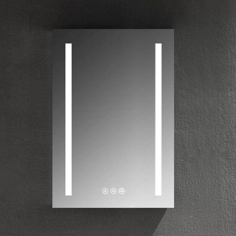 Diprose Recessed Or Surface Mount Frameless Medicine Cabinet With 3 Adjustable Shelves Led Lighting And Electrical Outlet In 2020 Adjustable Shelving Led Lights Electrical Outlets