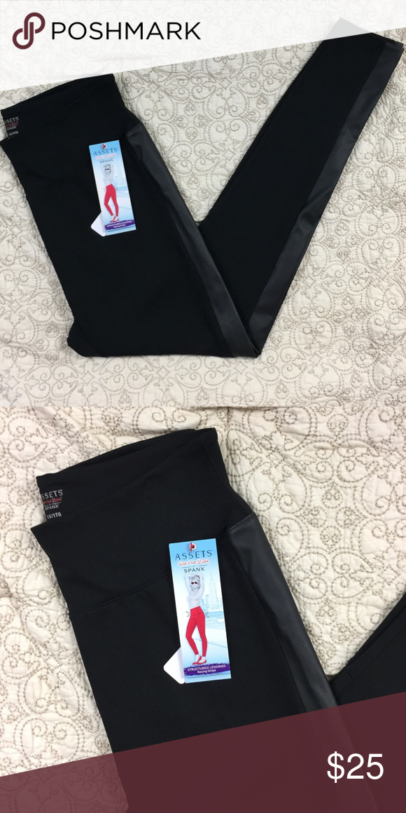 128dcef88fd67 Assets red hot label spanx leggings Black leggings with leather racing  stripe made by spanx. NWT B-183 Assets By Spanx Pants Leggings