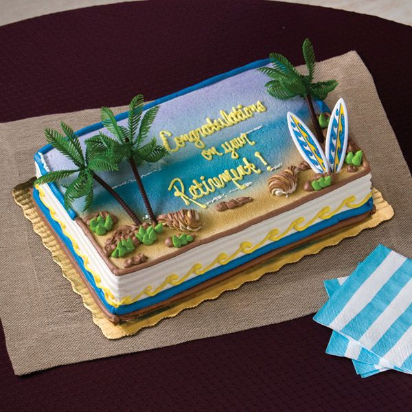 Outstanding Beach Cake Publix With Images Birthday Sheet Cakes Beach Funny Birthday Cards Online Fluifree Goldxyz