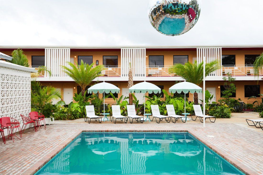 An Inside Look At A 1950s Motel Turned Modern Day Oasis In New Orleans Hotels Design Hotel Courtyard Pool