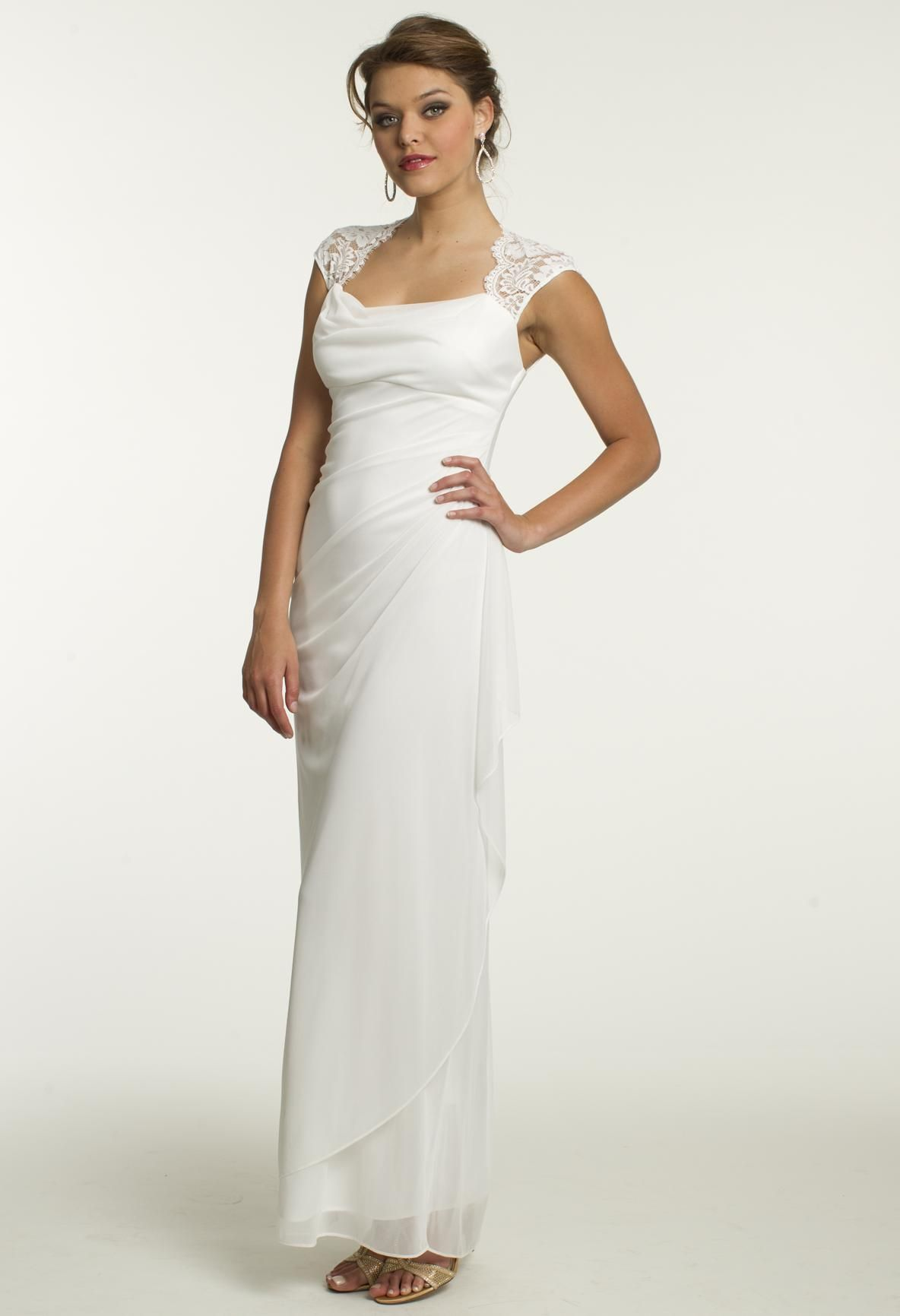 Long mesh dress with lace capped sleeve camillelavie clvprom