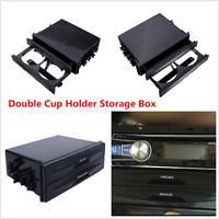 Double Din Radio Pocket Drink-Cup Holder Storage Box For Car Vehicle Universal
