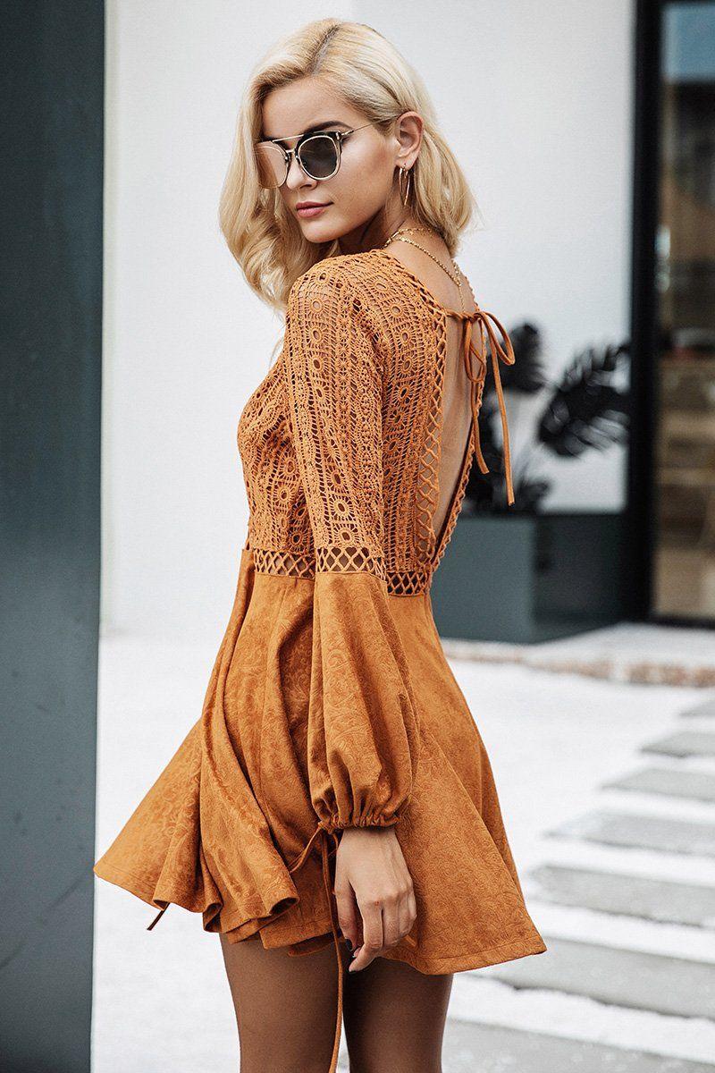Cute Boho Tan Crochet Mini Summer Dress Outfit Ideas Spring Casual Modest Boho Bohemian Hippie Indie Style Fashion M Boho Outfits Suede Mini Dress Boho Dress [ 1200 x 800 Pixel ]