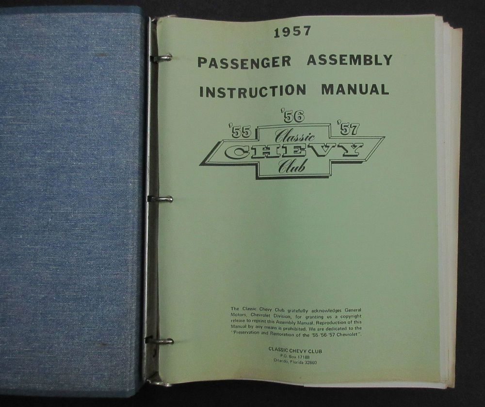 1957 Chevrolet Passenger Assembly Instruction Manual - detailed diagrams /  drawings for 1957 Chevy passenger cars