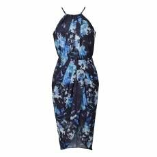 NAVY FLORAL WRAP DRAPE MIDI DRESS