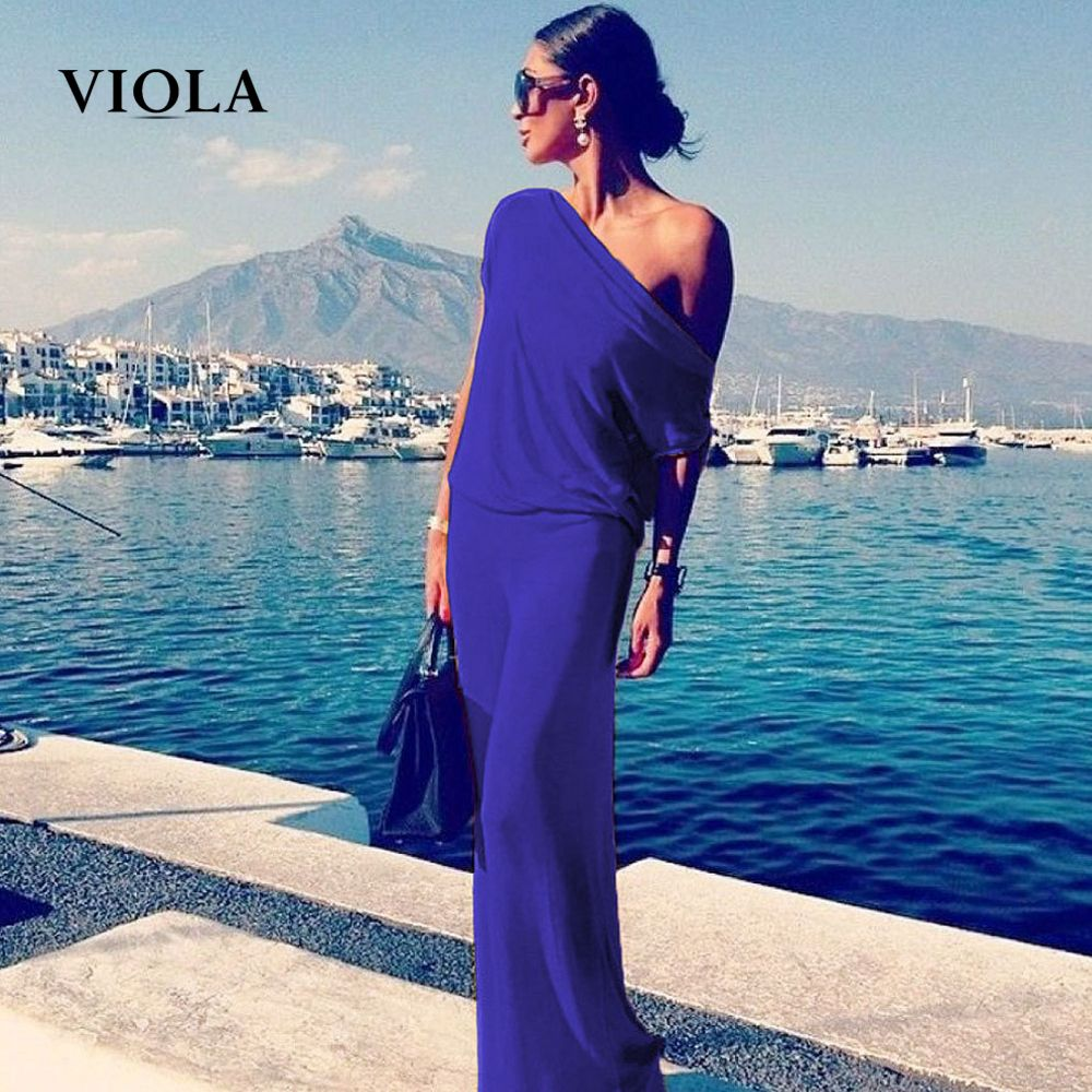Viola off shoulder long summer beach dresses women cotton maxi