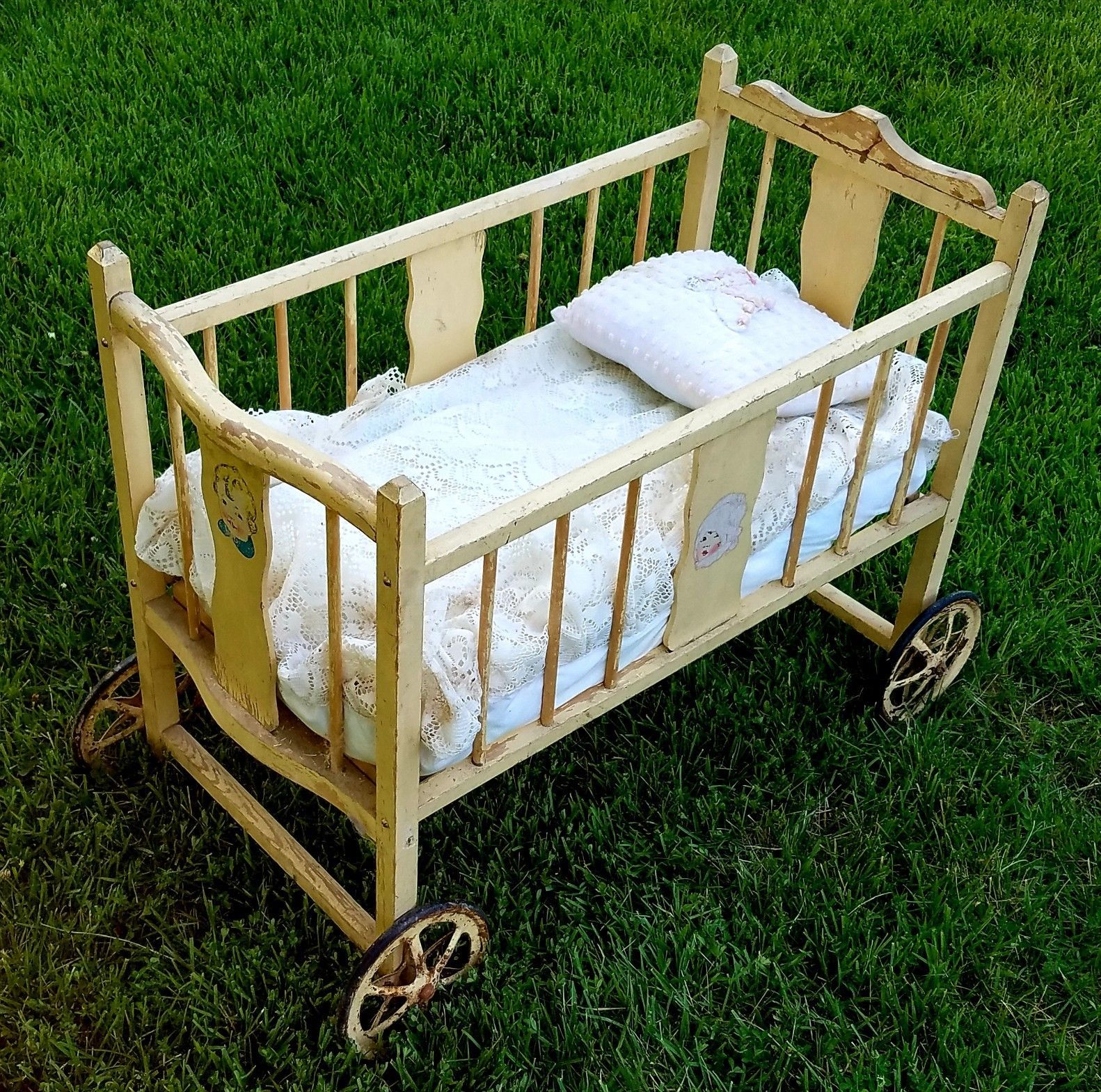 Vintage Rare Wooden Crib Baby Doll Bed Litho Decals Wheels Antique