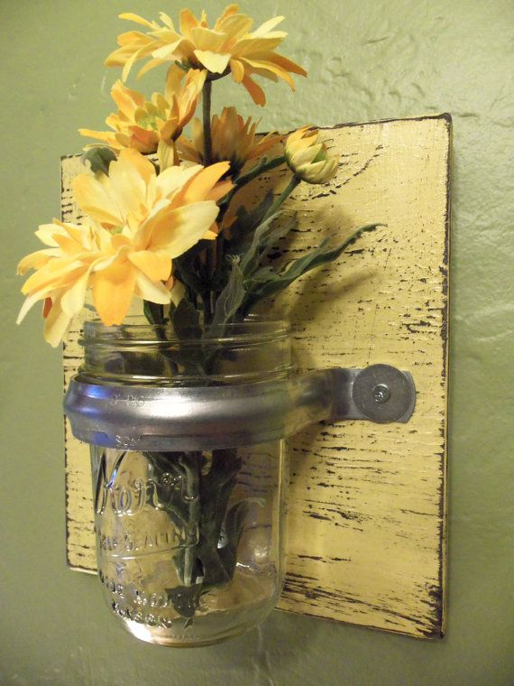 Wall vase sconce yellow rustic wood glass decor | Wood glass, Rustic ...
