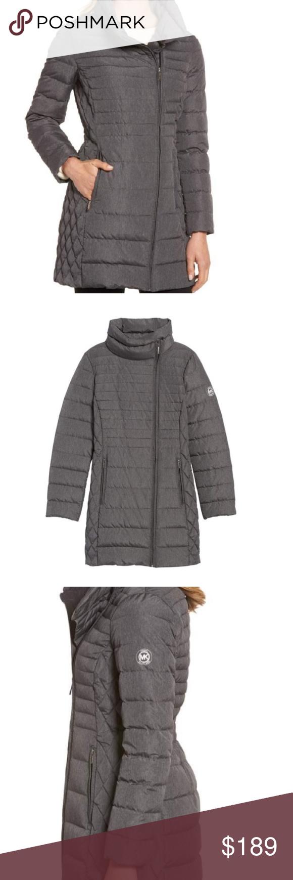 00efa6f33643 Michael Kors Packable Real Down Coat Matt Gray 1X With Matching MK  Drawstring Bag Natural Breathable Down Fill Elastic Back Waist Asymmetrical  Zip Warm