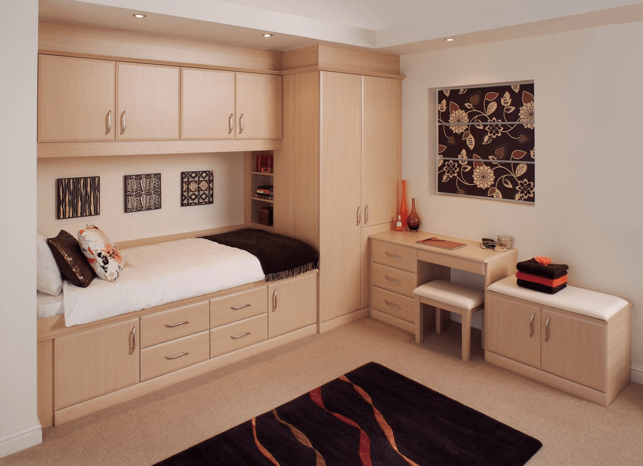 Build In Storage Furniture Set For Small Bedroom Fitted Bedroom Furniture Fitted Bedrooms Small Apartment Bedrooms