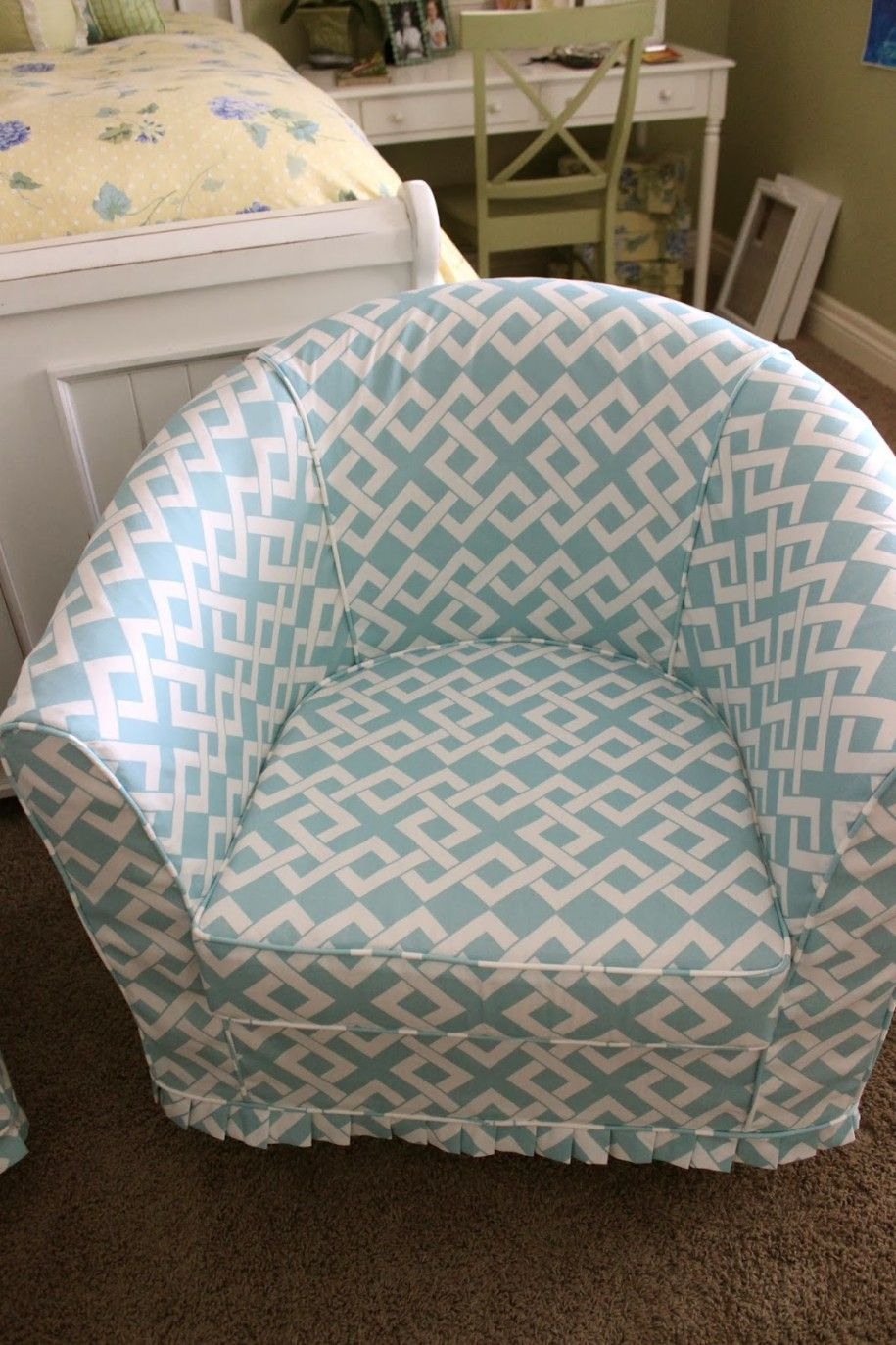 Barrel Chair Slipcovers Ideas : Best Chair Slipcovers Design: Awesome Blue  Armchair Slipcover Chair Design