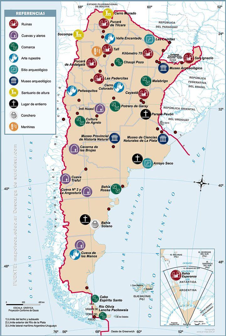 Mapa De Argentina Con Elementos Destacados De Cada Región Buscar - Argentina mapa