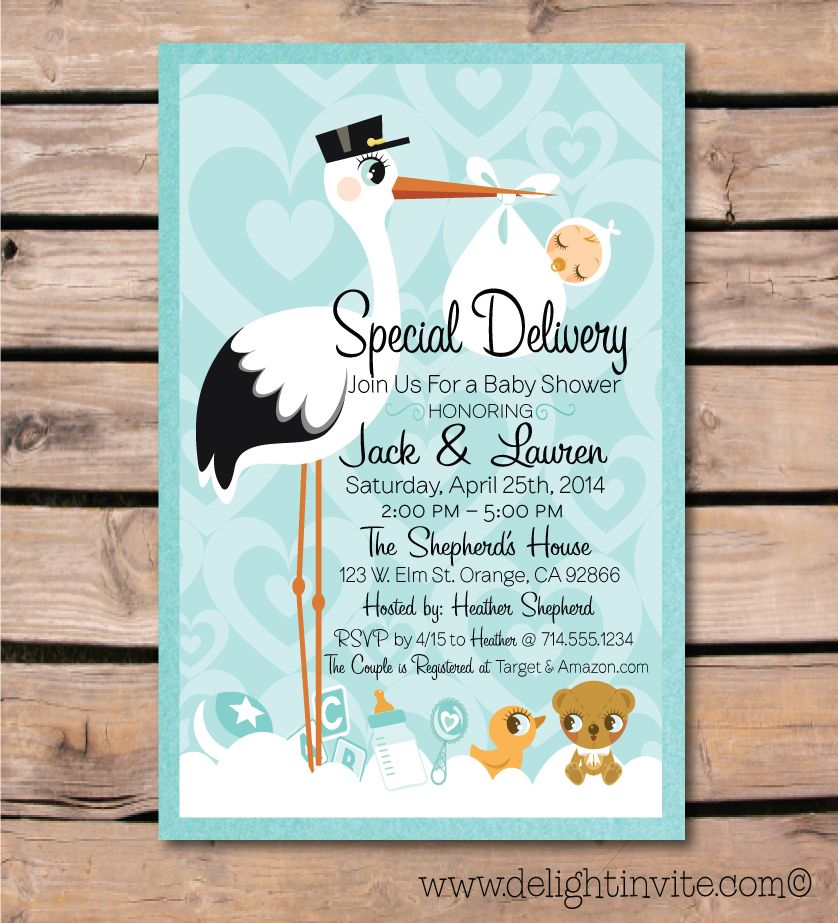 Stork\'s Special Delivery Baby Shower Invite [DI-4510] : Custom ...