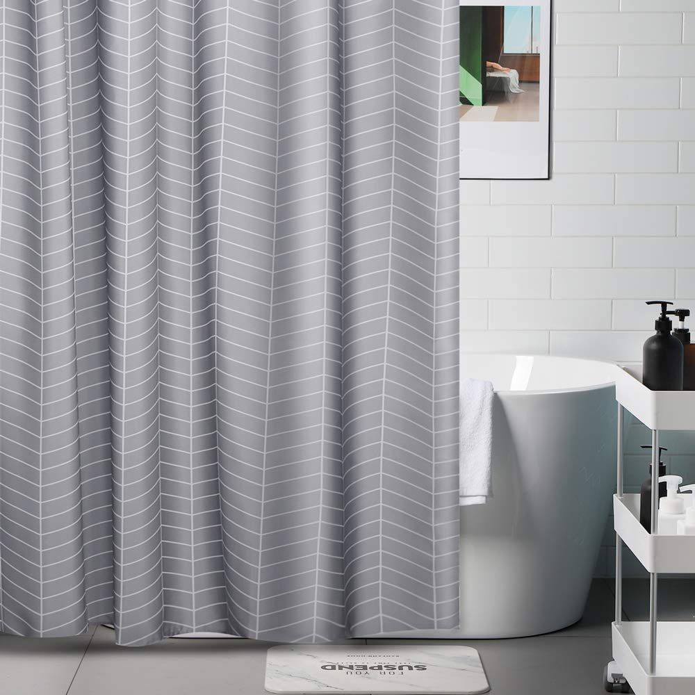 Grey Shower Curtain With 12pcs Curtain Hooks Waterproof Thick