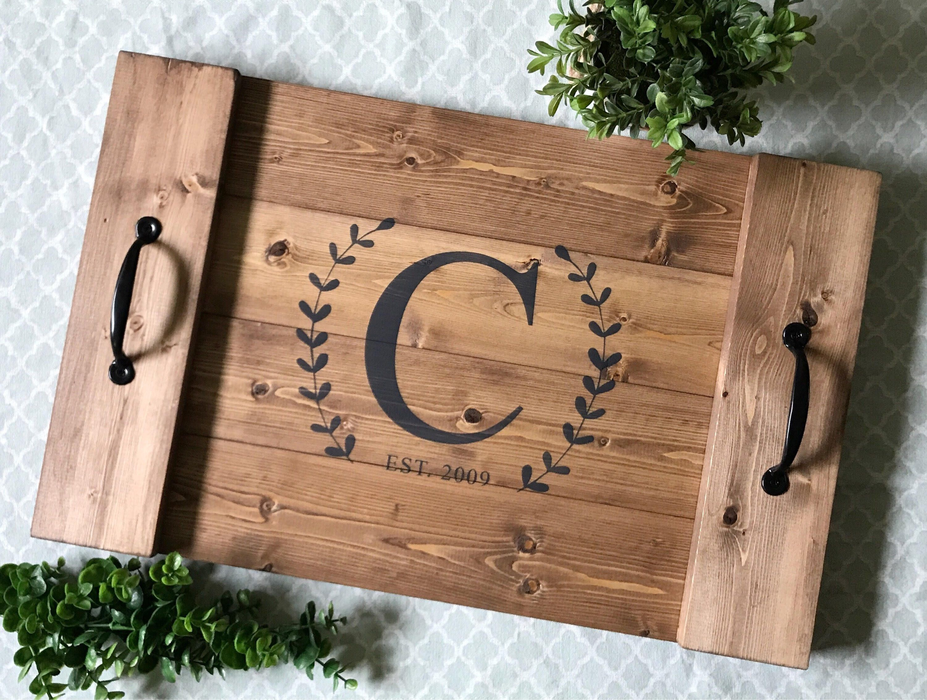 personalized serving tray wood serving tray wooden serving tray