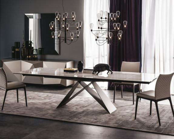 Premier Keramik is an extendible dining table with base in