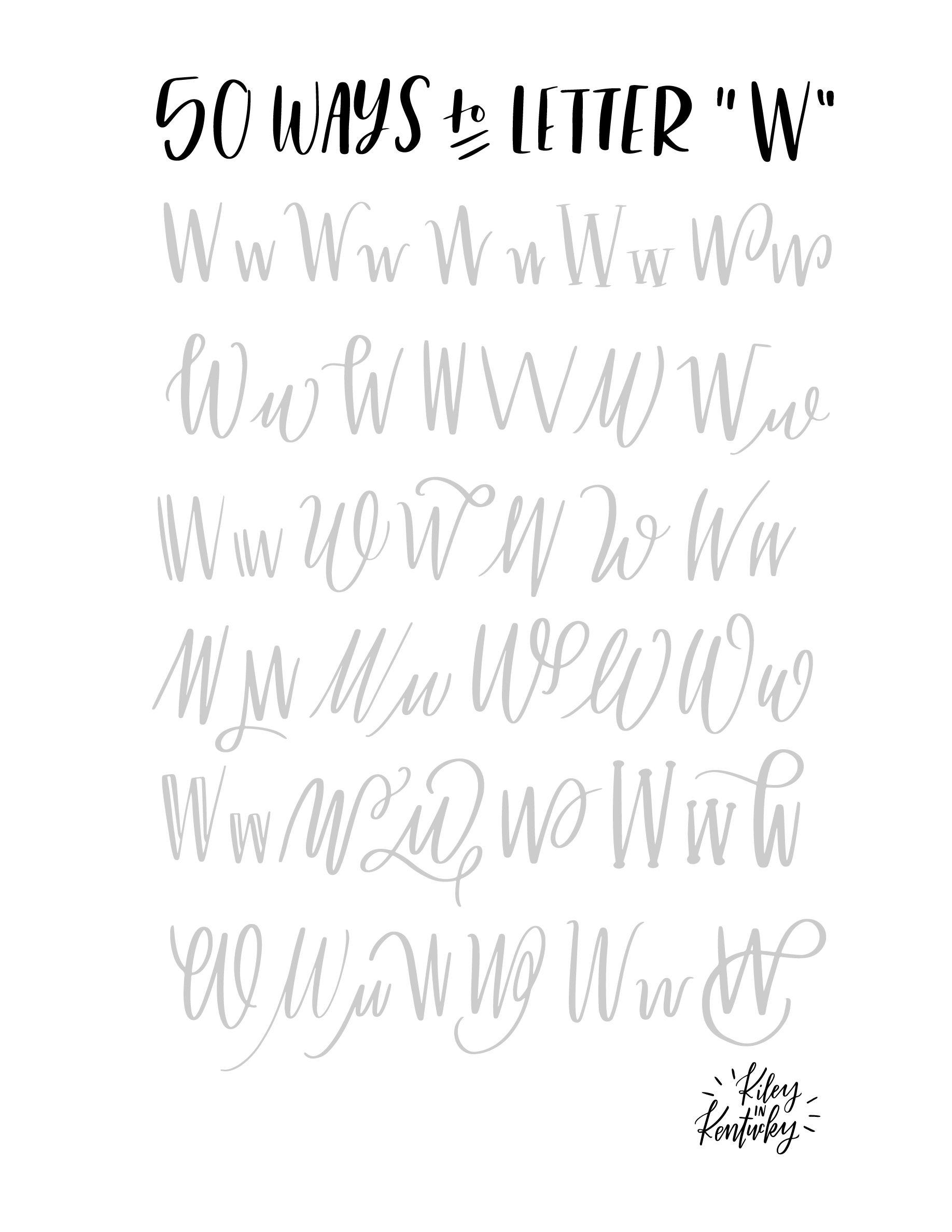 50 Möglichkeiten den Buchstaben W zu lettern | Hand lettering ...