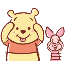 くまのプーさんとピグレットの仲良しコンビのスタンプ登場!ほのぼの可愛い雰囲気と、のんびりした動きに癒やされます♪