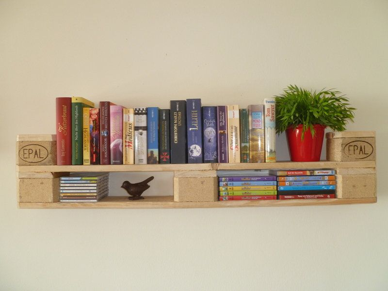Photo of Bookshelf / DVDShelf made of Euro pallets in DIY Shabby Chic Style * Pallet furniture