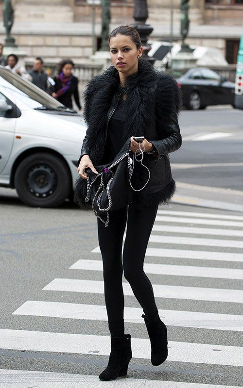 Adriana Lima Wears a Black Fur Jacket Out in Paris