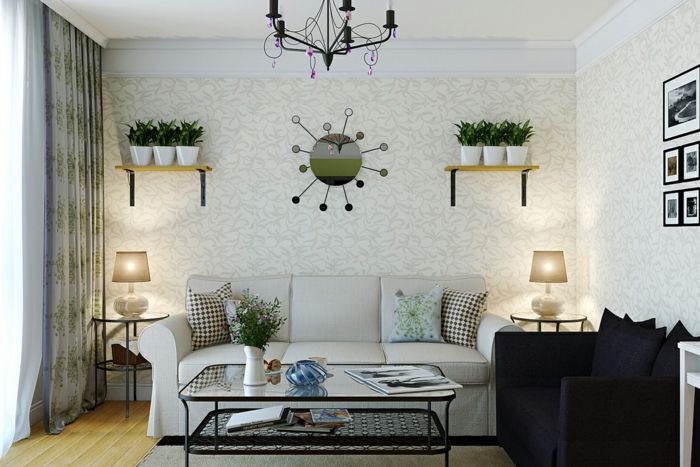 wohnzimmer wandgestaltung tapeten wandregale blumentöpfe wanddeko - wohnzimmer ideen wandgestaltung