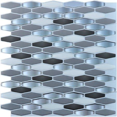 Art3d Self Adhesive Backsplash Tiles For Kitchen Diamond 12 X 12 Pack Of 6 Walmart Com Peel And Stick Tile Self Adhesive Backsplash Tiles Stick On Tiles
