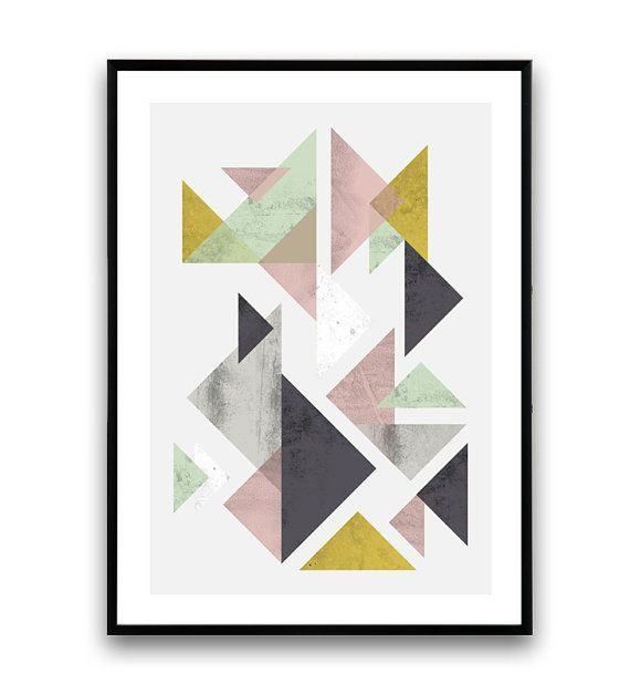 Imprim g om trique r sum de triangles miminalist par wallzilla tableau scandinave - Tableau geometrique scandinave ...