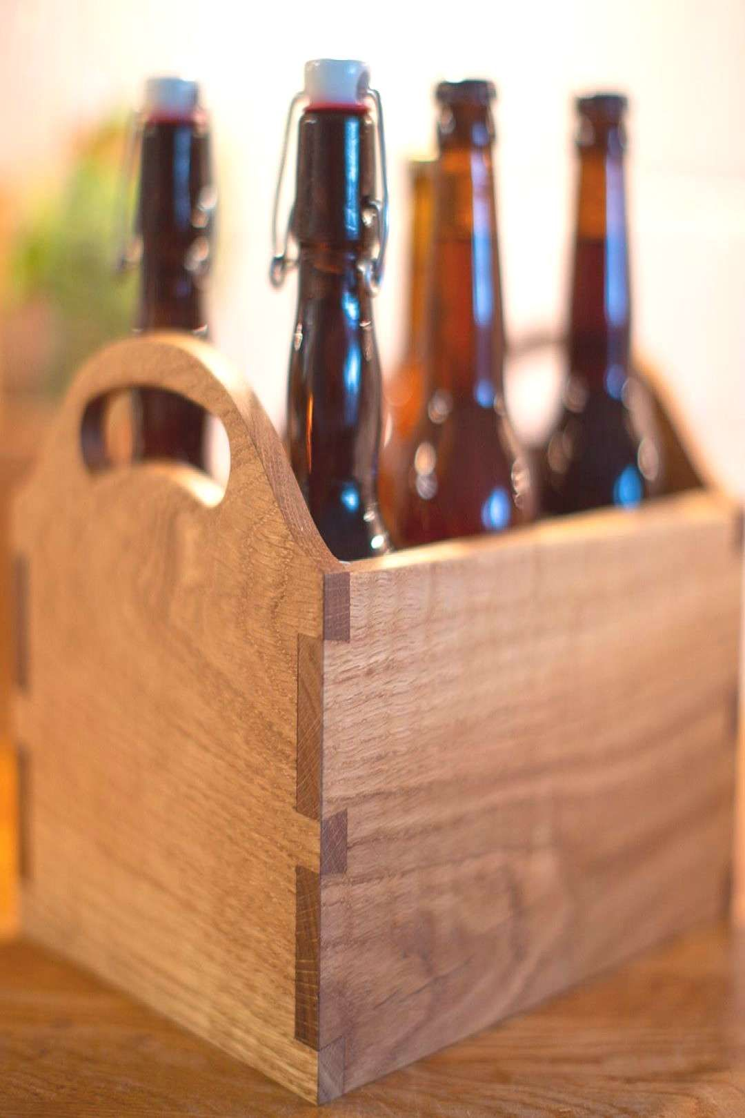 Beer tote for farfar the kids grandfather Oak dovetails and bYou can find Diy wood and more o