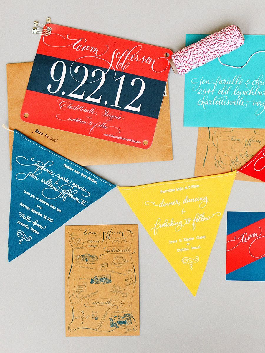 Pennant flag unique wedding invitations party invitation ideas