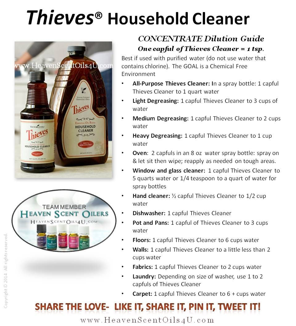 Thieves Oil Dilution Thievesr Concentrated Household Cleaner Dilution Guide Essential