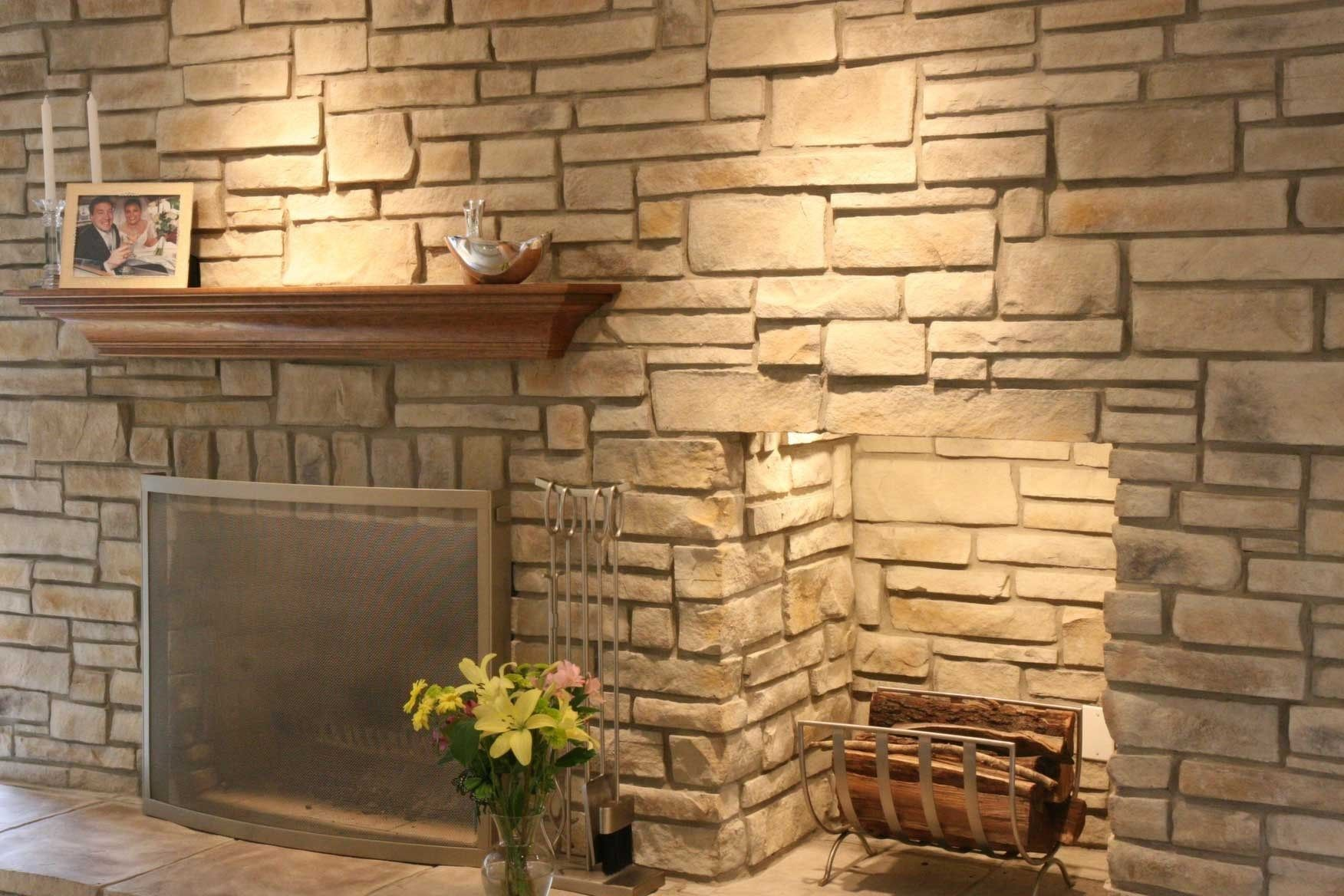 Dry Stacked Stone Fireplace 13 Stone Veneer Wall Stone Walls