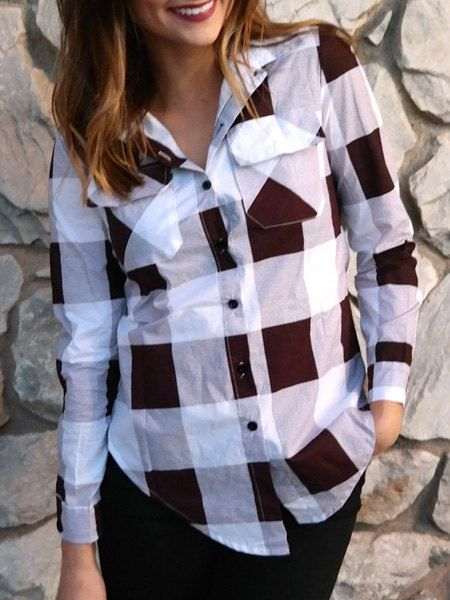 2b745b7f06b2ec Stylish Shirt Collar Long Sleeve Plaid Side Slit Shirt For Women ...