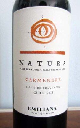 2011 Natura Carmenere - organic wine from Chili. Earthy aromas and a smooth texture to pair with grilled meat and poultry. Price: $8.99 Rating: 3.5/5 corks