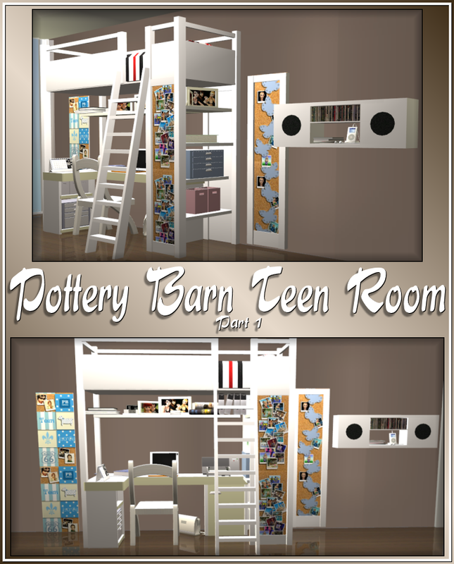 Pas' Pottery Barn Teen's Room Set  The sims 2 downloads  Pinterest  심즈 4