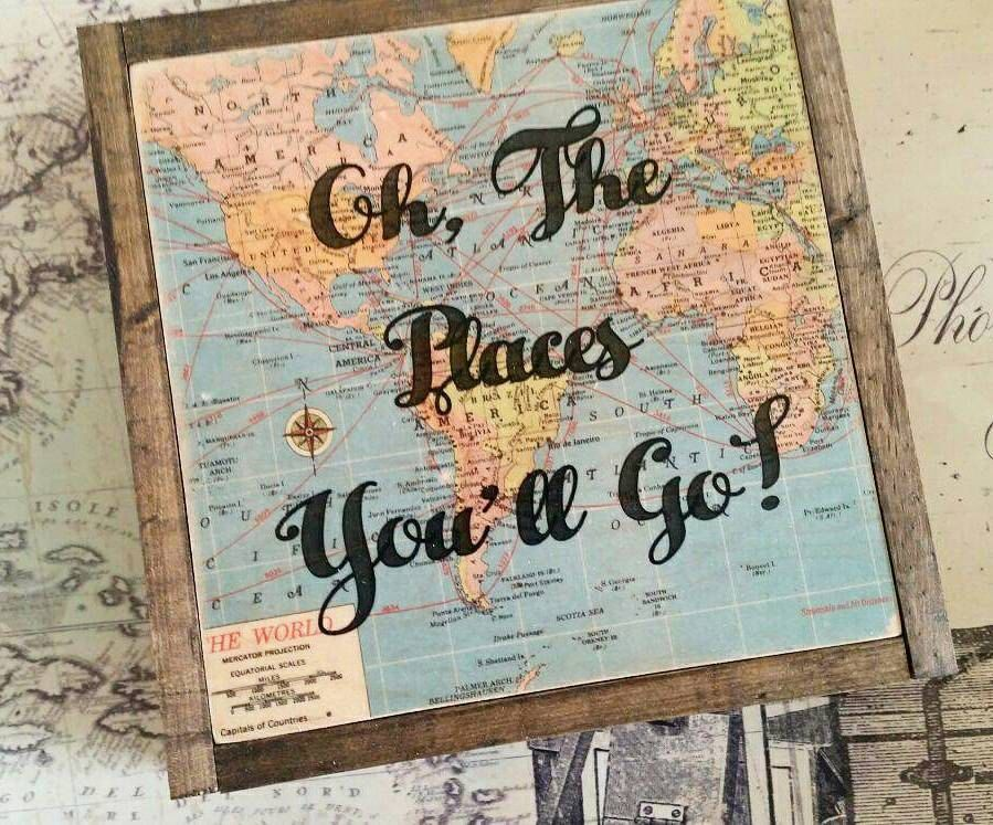 Oh The Places You Ll Go Wall Art Map Decor Dr Seuss
