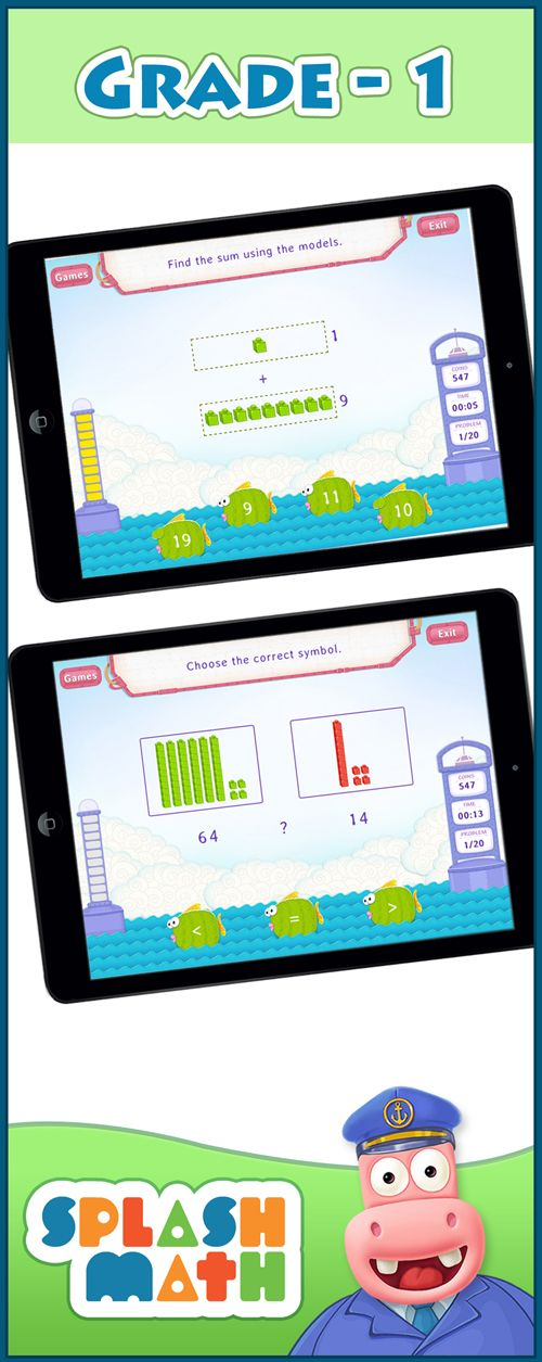 Get 58 math skills for Grade 1, aligned to the Common Core State Standards. Splash Math Grade 1 offers a comprehensive solution to make math practice fun for the entire school year, minus boring paper worksheets. Accessible online and on iPad - anywhere, anytime!