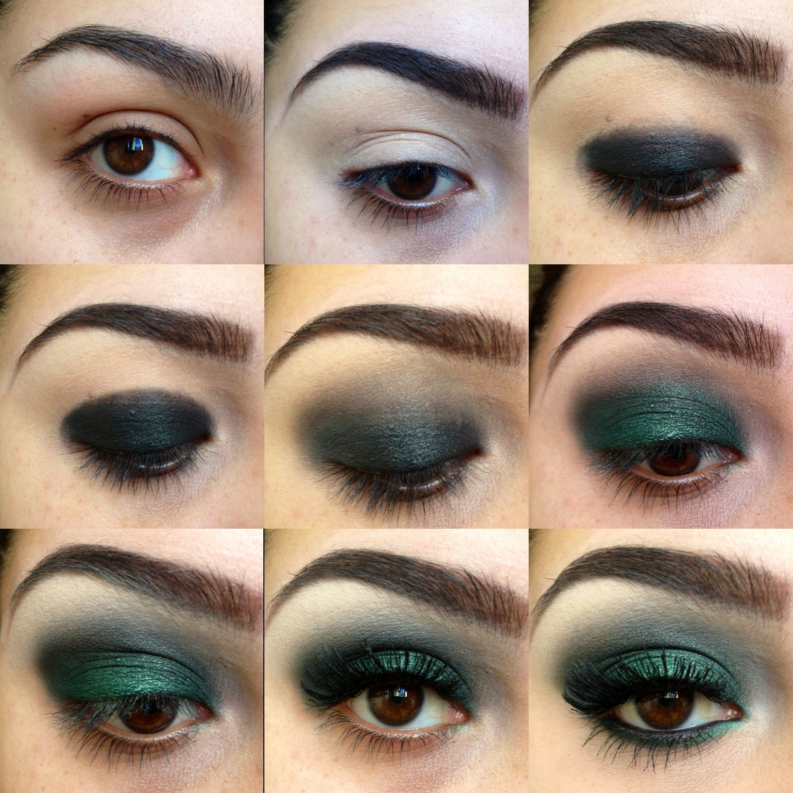 Step by step smokey green eye shadow Hair updo's
