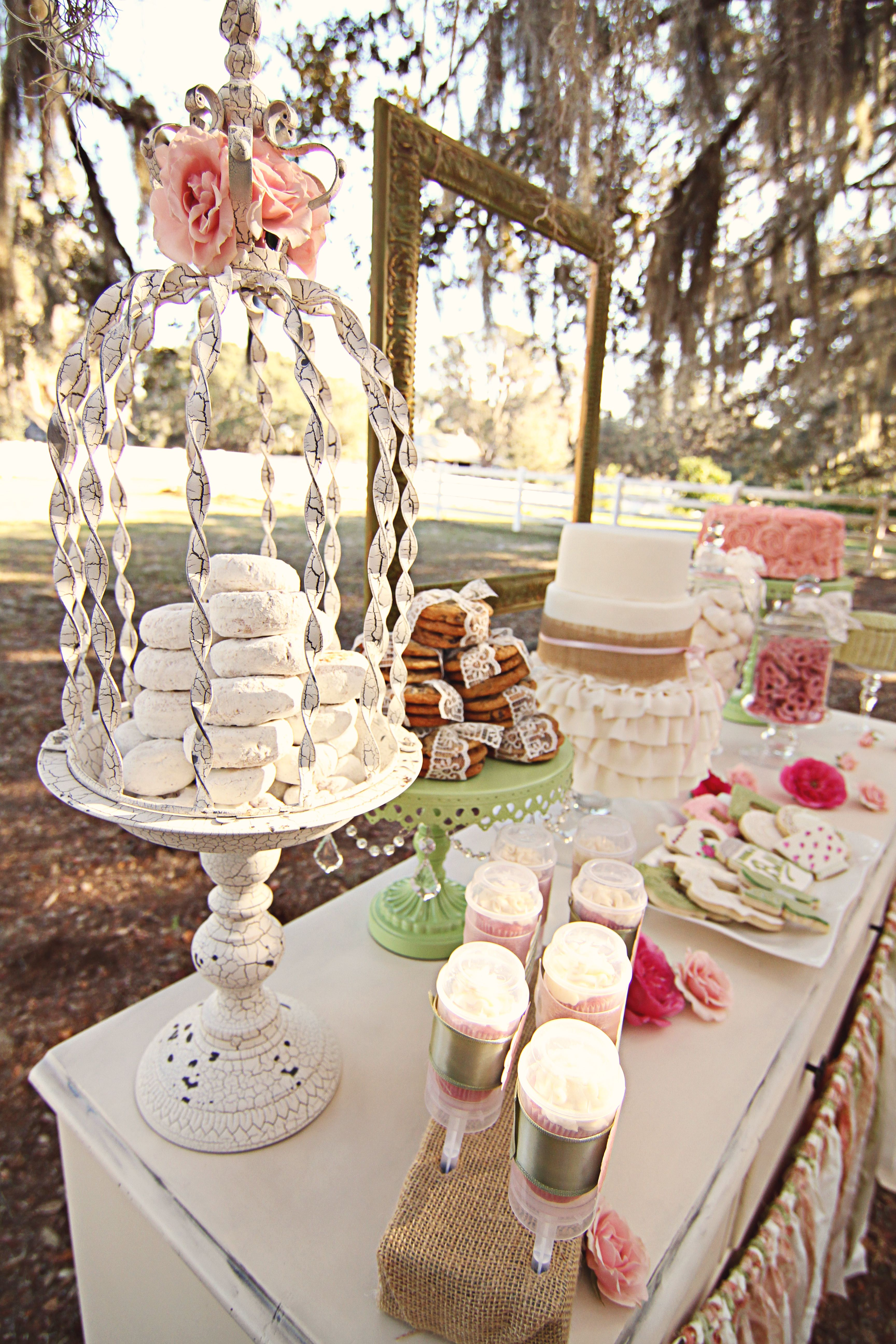 Shabby Chic Vintage Sweets Table ruffled cake burlap cake