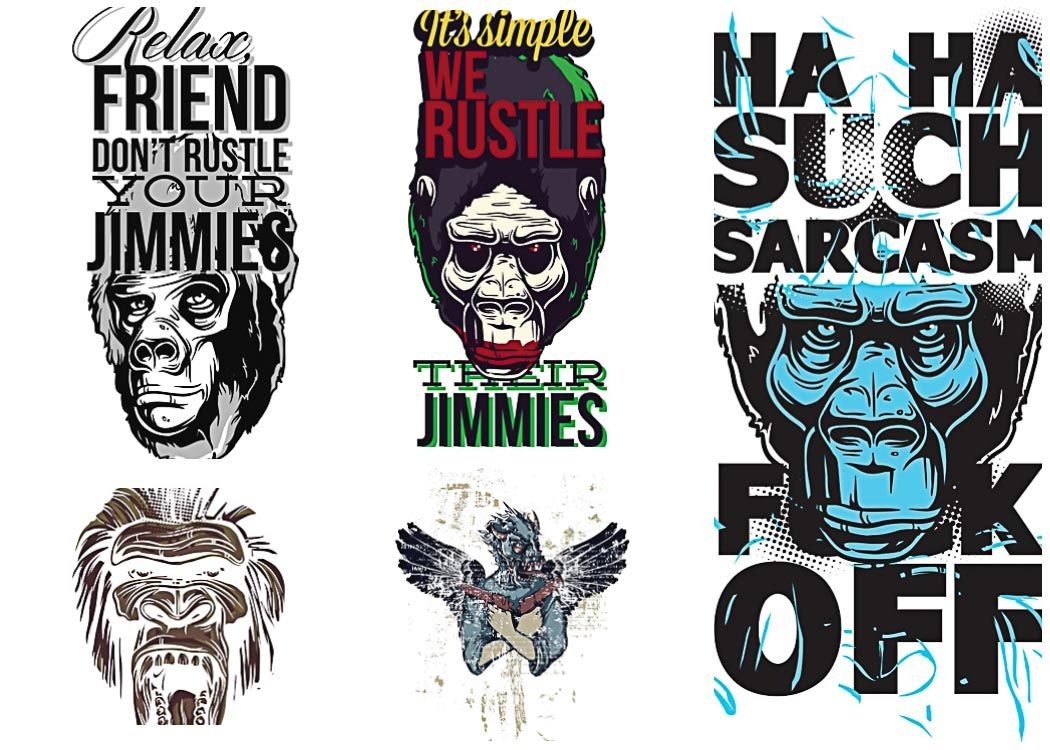 T-shirt prints with angry apes set vector | vector | Pinterest ...