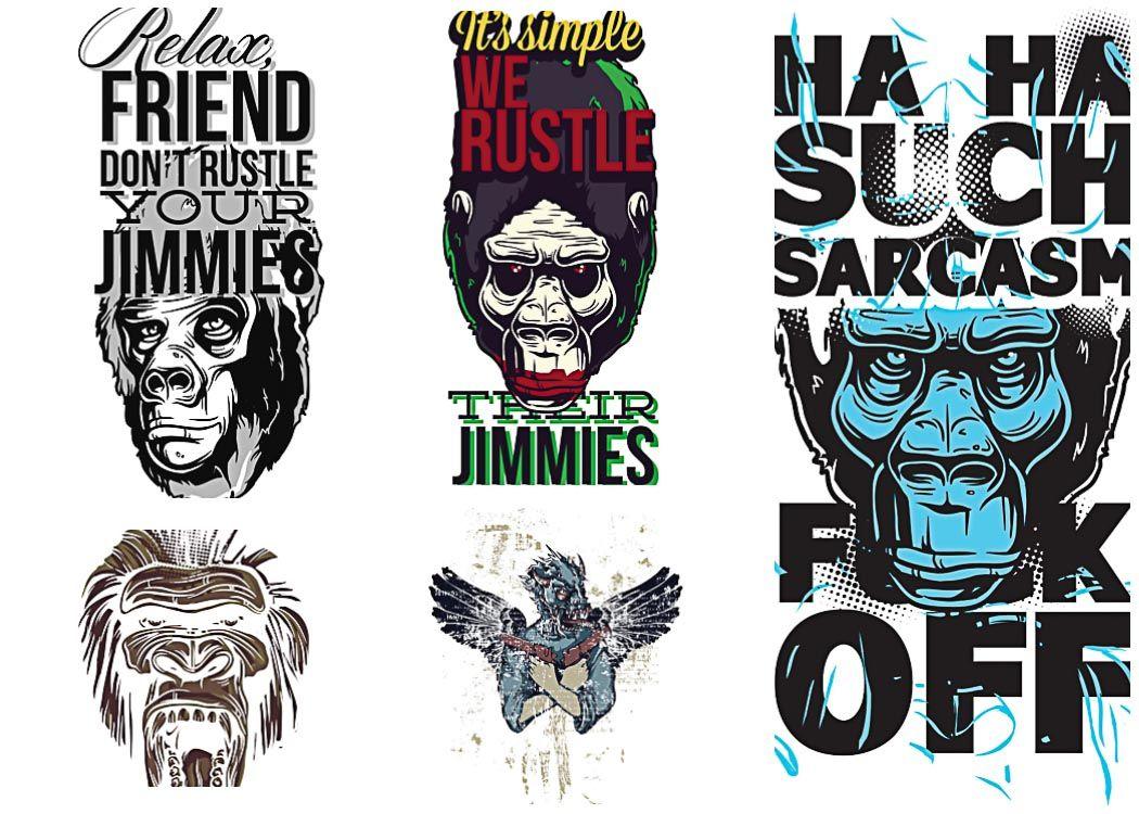 Apes prints tshirt vector set